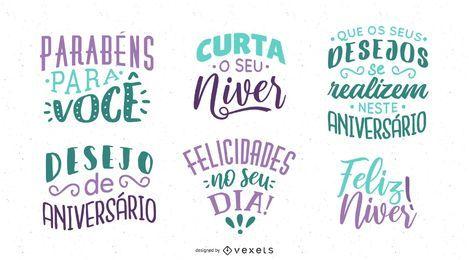 Geburtstags-Beschriftungs-Sammlung portugiesisch