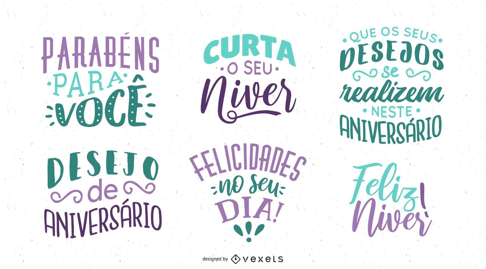 Birthday Lettering Collection Portuguese
