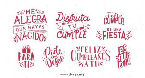 Birthday Greeting Lettering Spanish Set