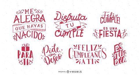 Conjunto de letras de saudação de aniversário em espanhol