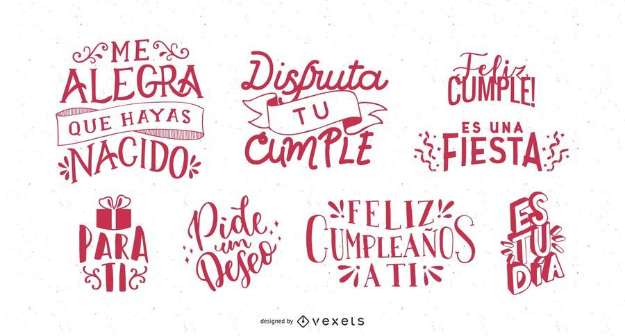 Birthday Greeting Lettering Spanish Set