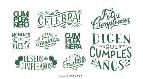 Aniversário deseja lettering conjunto espanhol