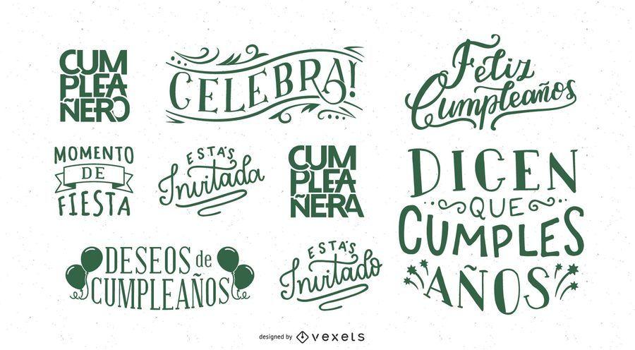Deseos de cumpleaños letras set español