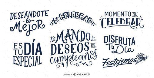 Conjunto de letras de aniversário em espanhol