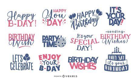 Coleção de rotulação de saudação de aniversário