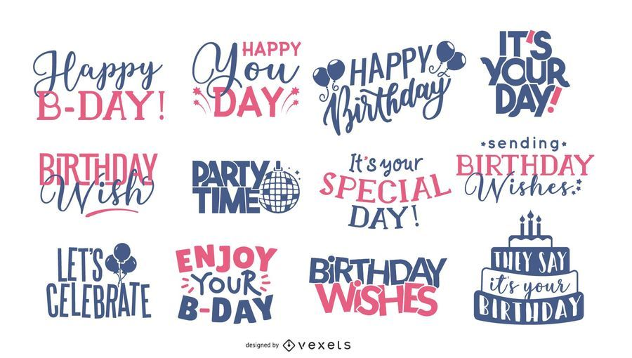 Birthday Greeting Lettering Collection