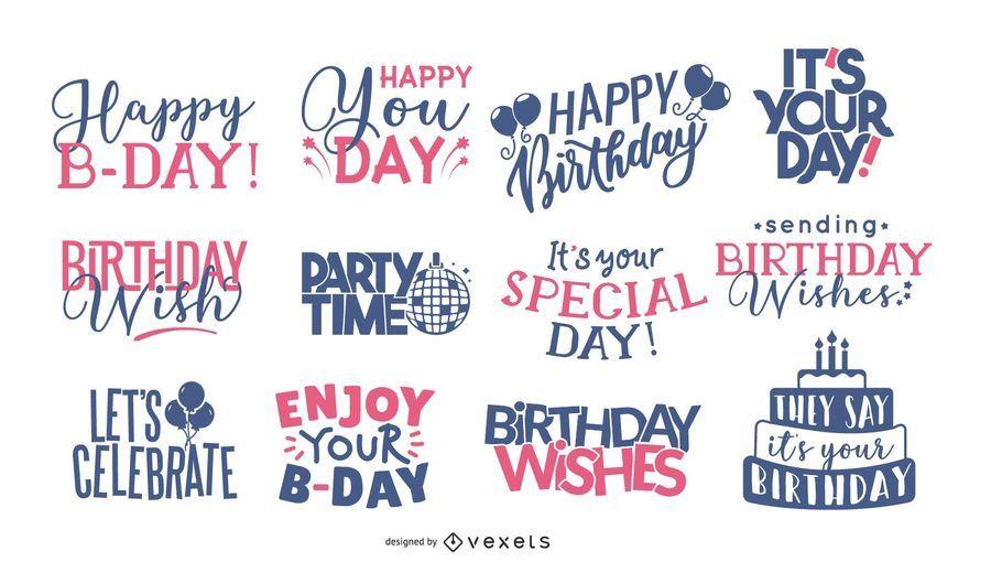 Colección de letras de felicitación de cumpleaños
