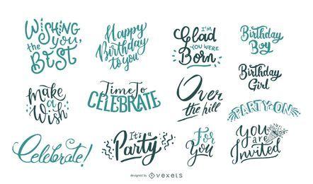 Aniversário deseja lettering coleção