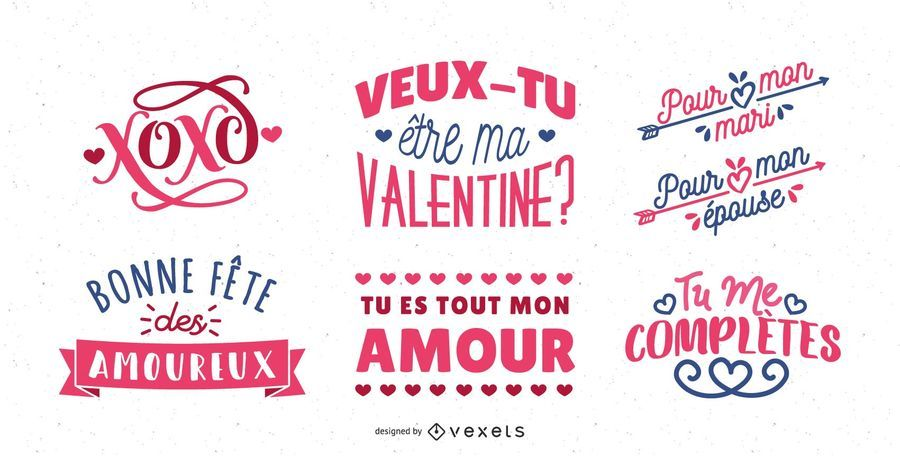 French Valentines Lettering Design