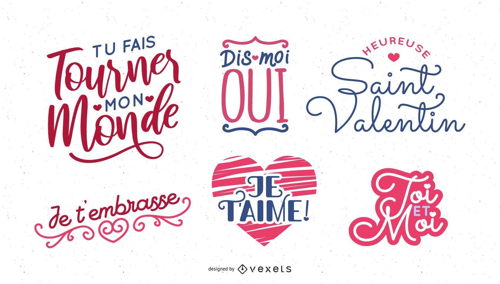 Diseño de letras del día de San Valentín francés