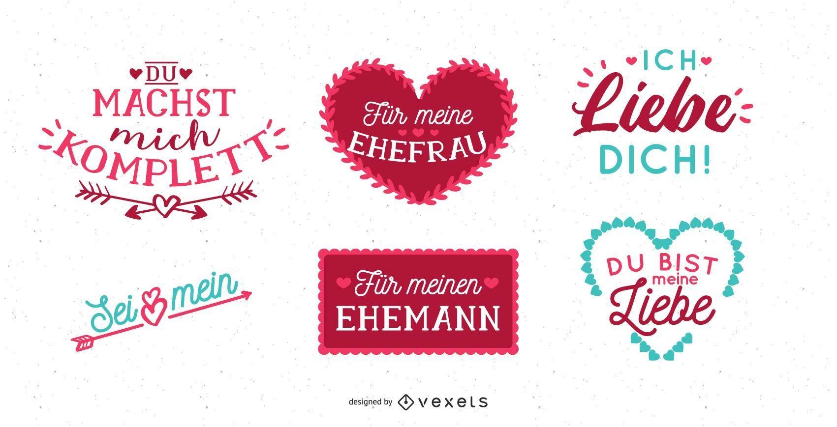 Diseño de letras del día de San Valentín alemán