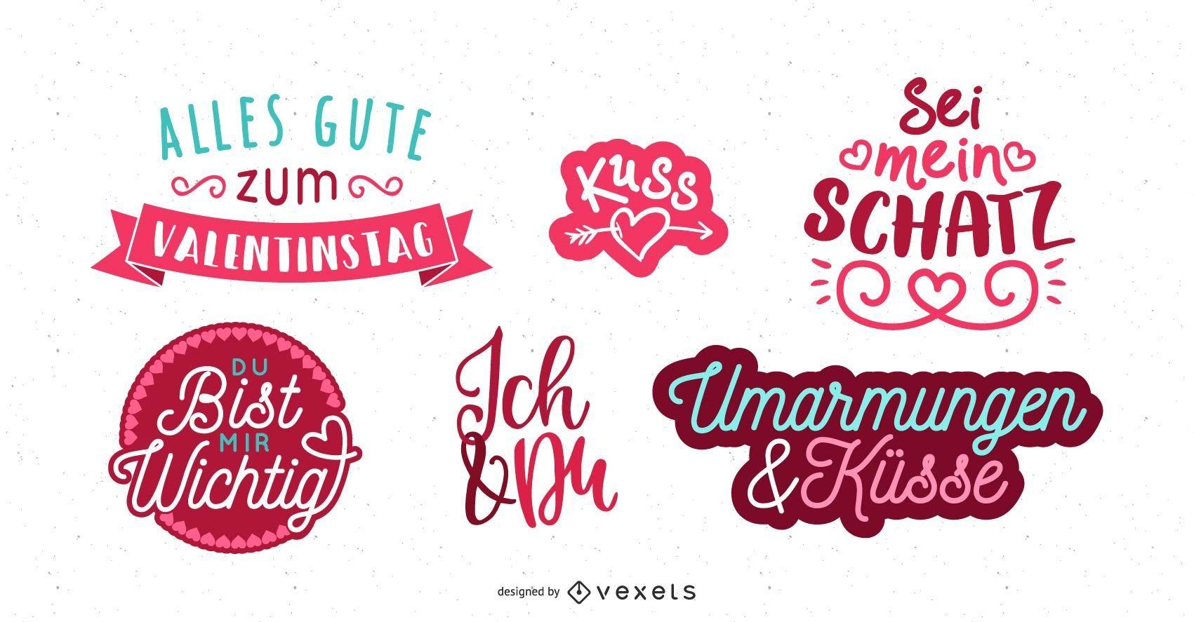 Diseño de saludo alemán de San Valentín
