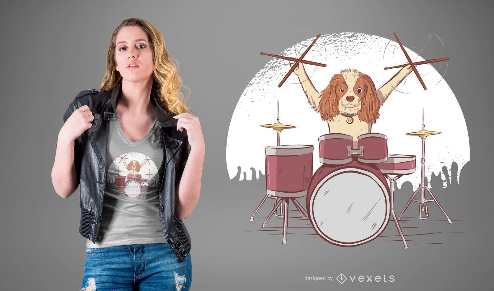 Diseño de camiseta de perro baterista