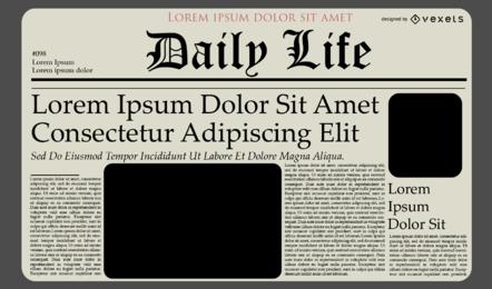 Diseño de plantilla de diario de periódico