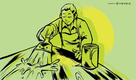 Trabajador de madera pintura ilustración diseño
