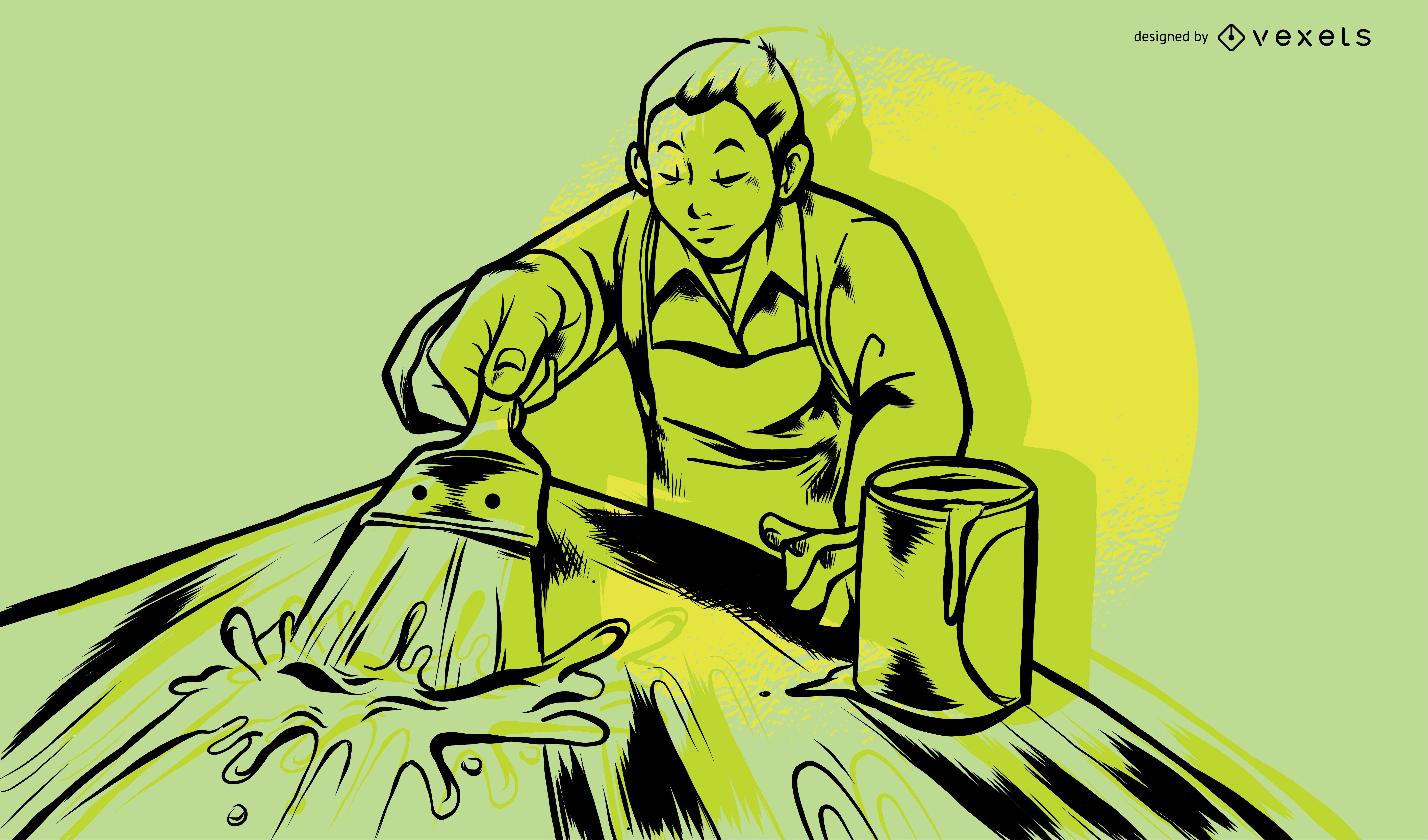 Wood Worker Painting Illustration Design