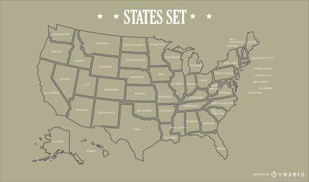 Design do mapa dos estados dos EUA