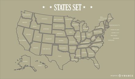 USA States Map Design