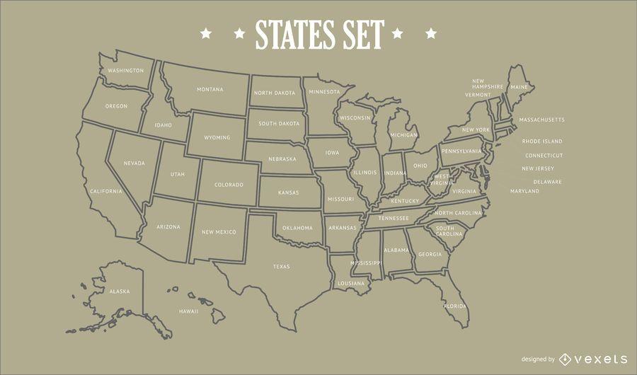 Diseño de mapa de estados de Estados Unidos
