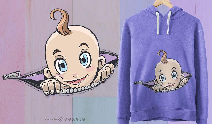 Projeto do t-shirt do bebê do zíper