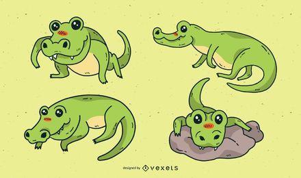 Conjunto de dibujos animados lindo cocodrilo