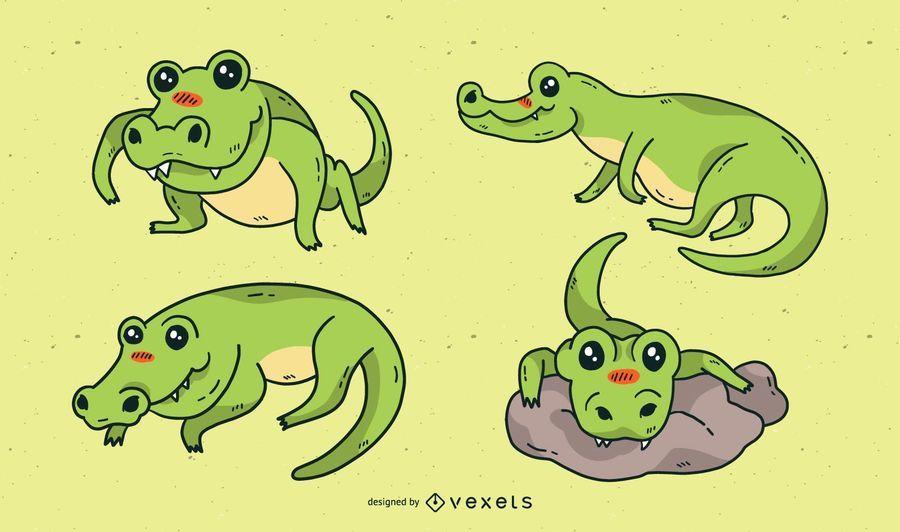 Cute alligator cartoon set