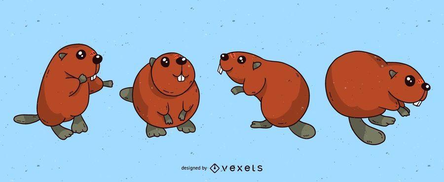 Cute beaver cartoon set