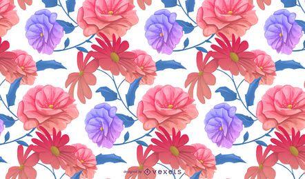 Diseño floral patrón de colores