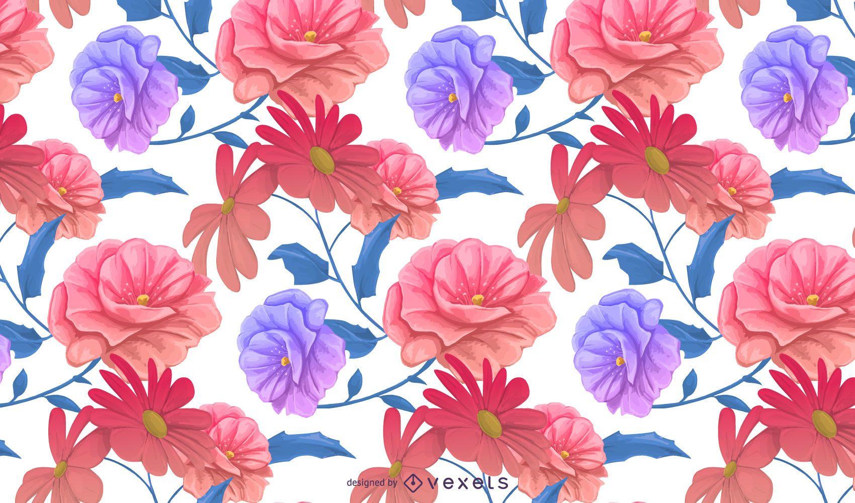 Diseño de patrón floral colorido