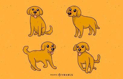 Conjunto de desenhos animados de cachorro fofo
