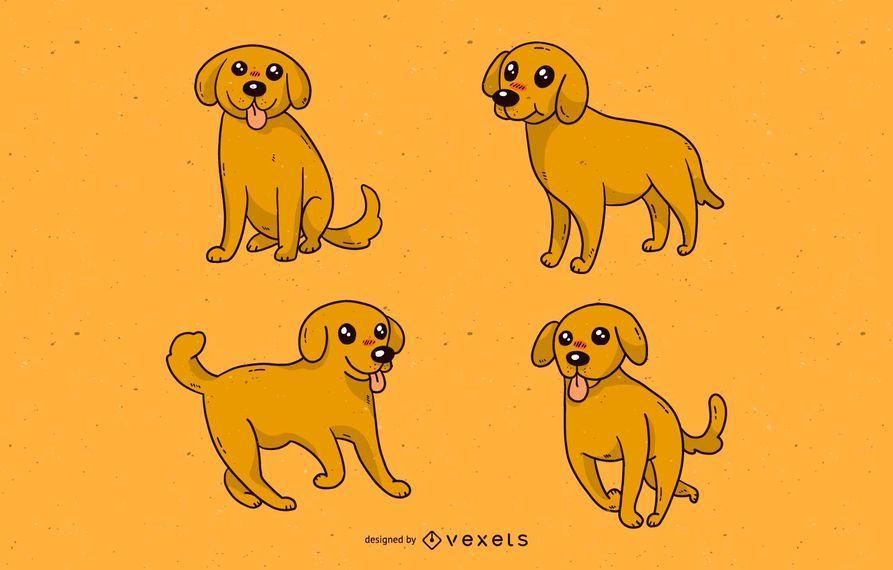 Conjunto de dibujos animados lindo perro
