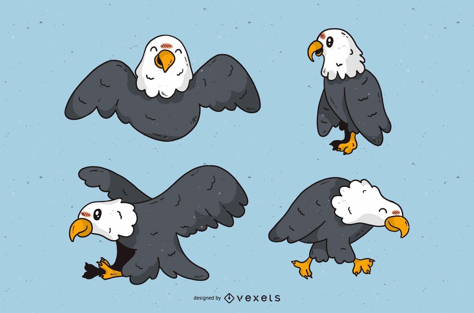 Cute eagle cartoon set