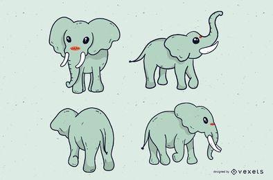 Conjunto de desenhos animados de elefante fofo