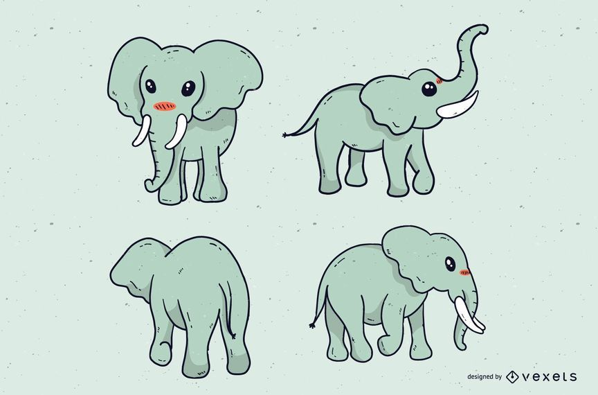 Cute elephant cartoon set