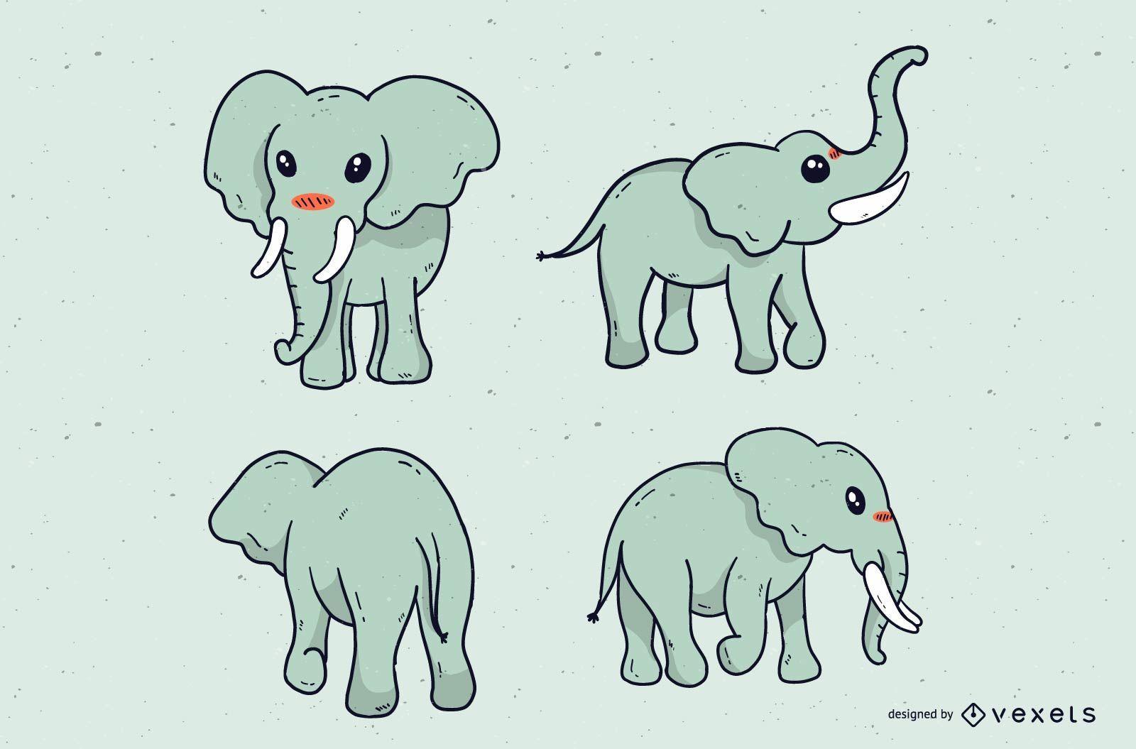 Conjunto de dibujos animados lindo elefante