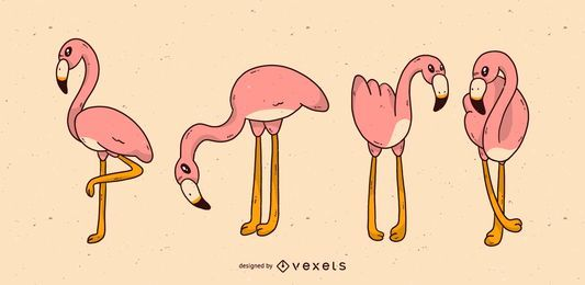 Cute flamingo cartoon set