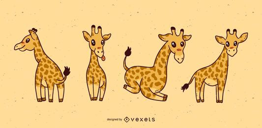 Conjunto de dibujos animados lindo jirafa