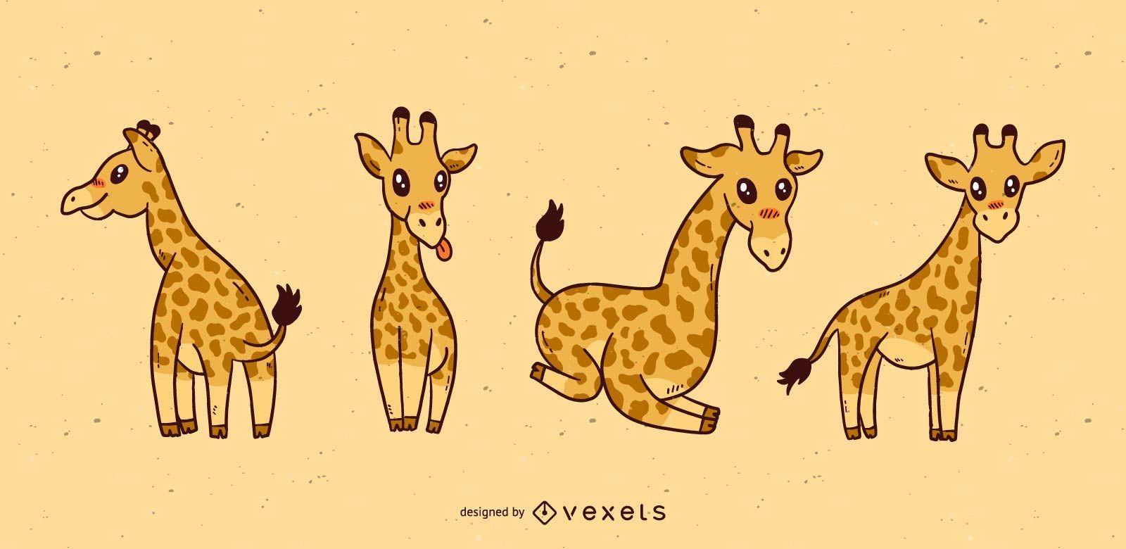 Cute giraffe cartoon set