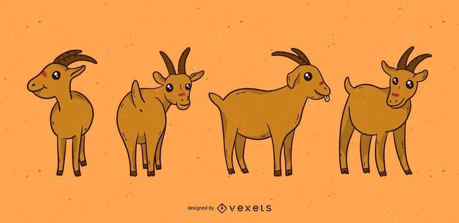 Cute goat cartoon set