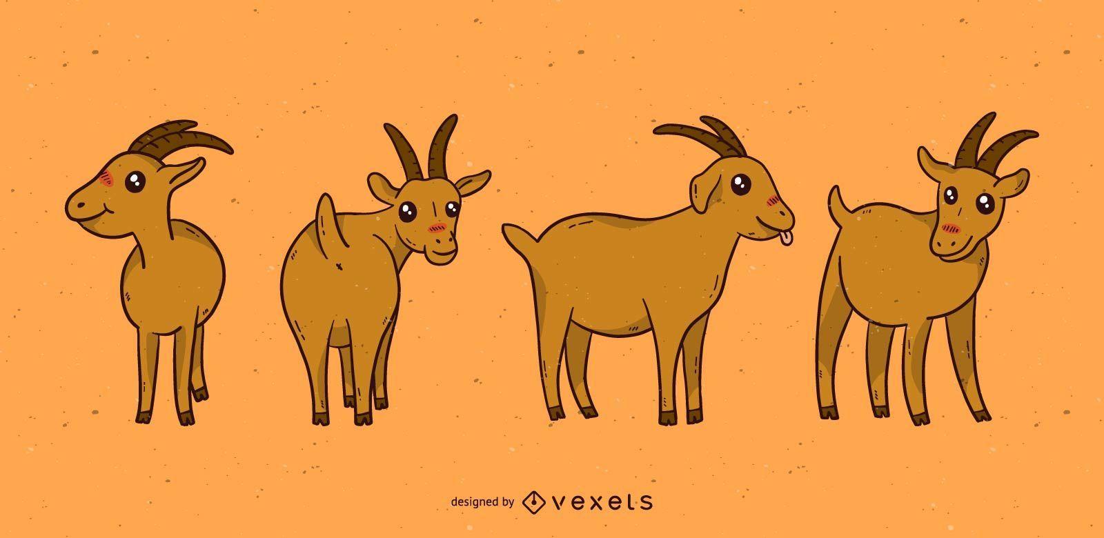 Conjunto de desenho animado de cabra fofa