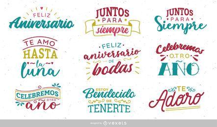 Design de rotulação de aniversário espanhol