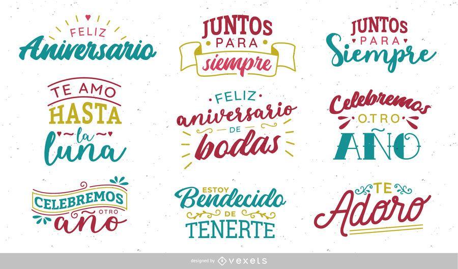 Frases De Aniversario En Espanol: Diseño De Letras Del Aniversario Español