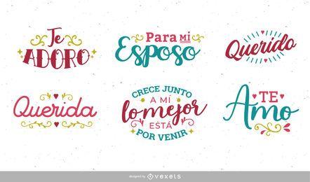 Set de letras en español de aniversario