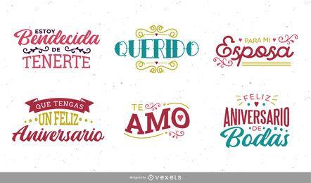 Conjunto de letras de aniversario español