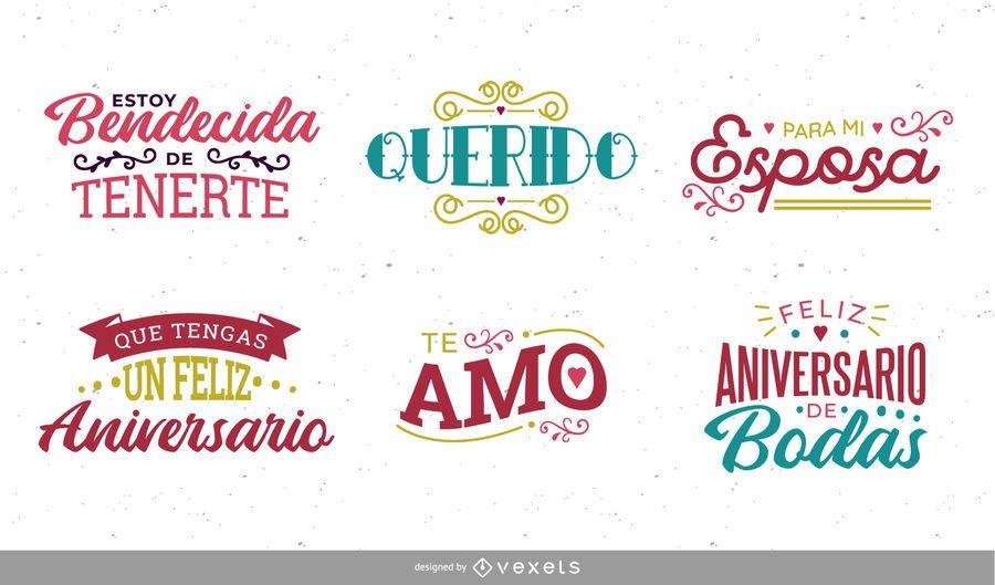 Conjunto de letras de aniversário espanhol