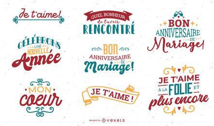 Valentinstag Französisch Schriftzug Set