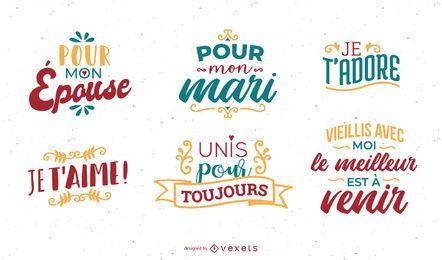 Conjunto de letras de aniversário francês