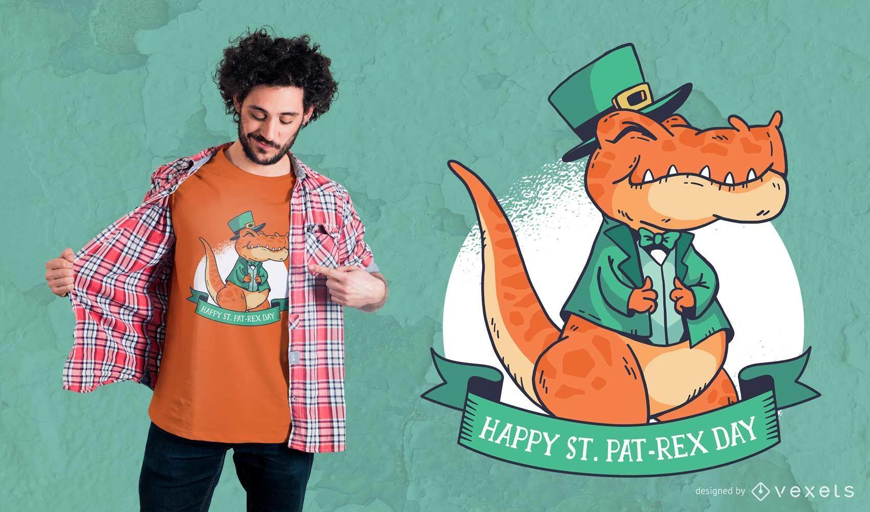 Diseño de camiseta de St. Patrick's T-Rex