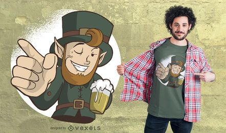 Winking Leprechaun T-Shirt Design