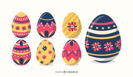 Coloridos huevos de pascua conjunto